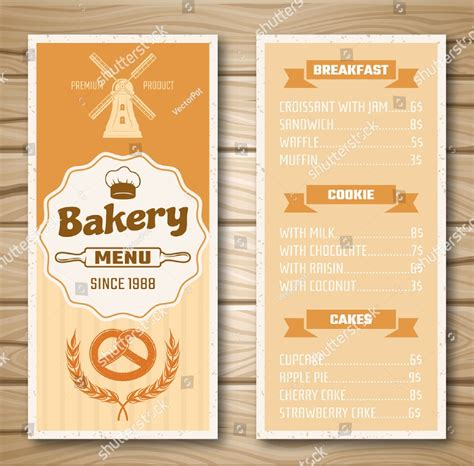 examples  bakery menu templates  publisher