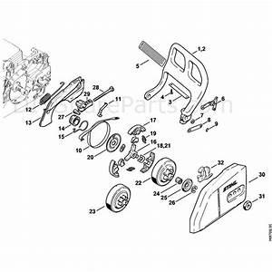 Stihl 018 Chainsaw  018c  Parts Diagram  Chain Brake