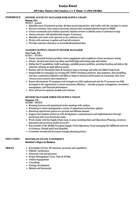 Supply Chain Project Manager Resume by Supply Chain Senior Manager Resume Sles Velvet