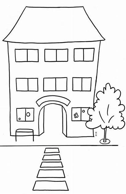 Schule Schulhaus Ecole Coloriage Malvorlage Zum Kindergarten