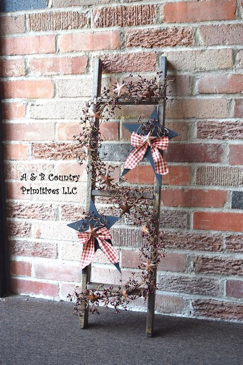 Country Ladder With Berry Garland Primitive Wooden