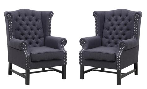 fairfield grey linen club chair set of 2 from tov tov