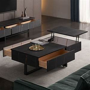 Lift, Top, Coffee, Table, With, Storage, Modern, Square, Coffee, Table, With, Drawer, In, Black
