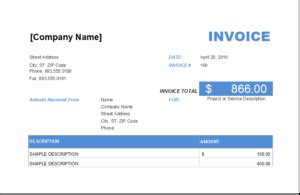 advance payment invoice  excel excel invoice templates