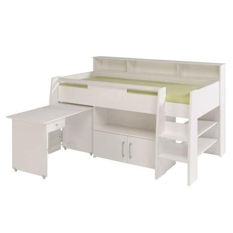 bureau 90 cm dave lit combiné 90cm bureau rangement blanc achat