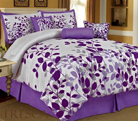 Amazoncom Bednlinens 7 Piece Queen Fresca Purple Leaves