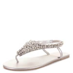 wedding shoes sandals womens toe post diamante beaded wedding flat slingback sandals size ebay