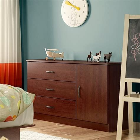 south shore libra dresser with door south shore libra 3 drawer wood door chest in royal cherry
