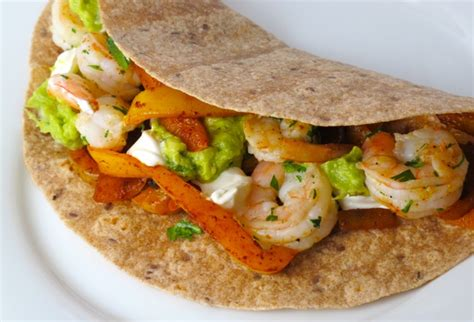 fajitas de crevettes et sa guacamole 171 maigrir sans faim