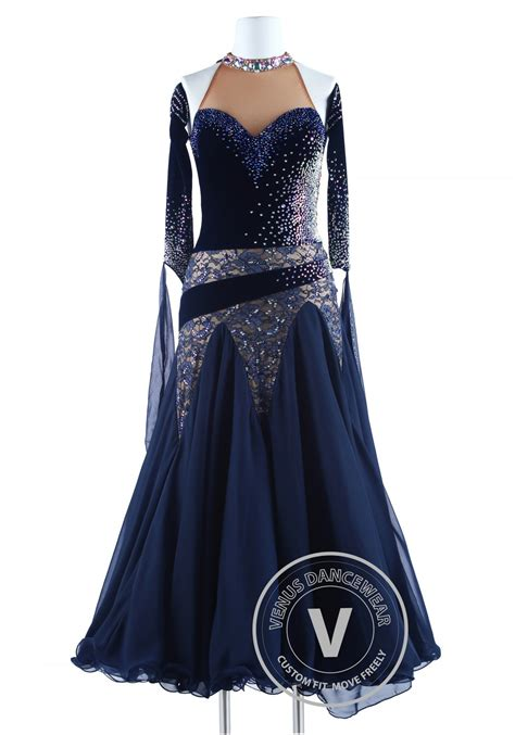 navy blue velvet navy blue velvet and lace waltz quickstep competition dress