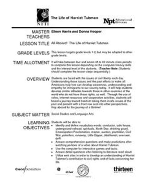 The Life Of Harriet Tubman Lesson Plan For 1st  2nd Grade  Lesson Planet