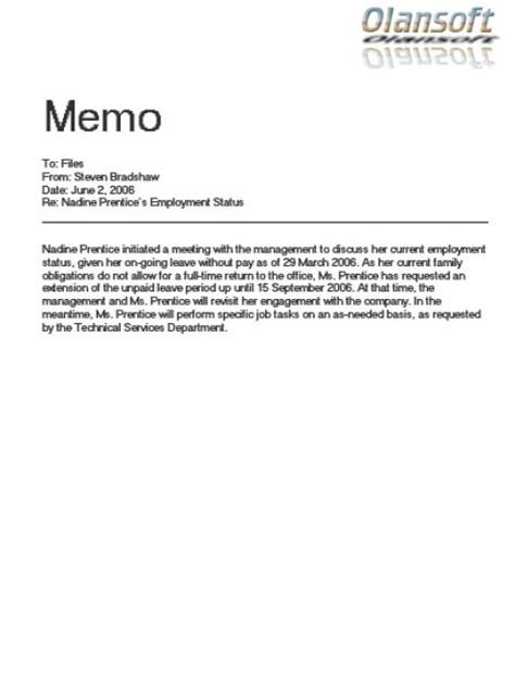 what is a business memo format of business memo writing sample business letter