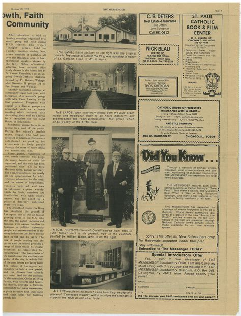 Newspaper Articles - Archives of Cathedral of Christ the King
