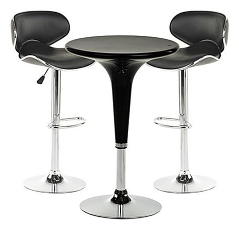 pub table and two chairs this chrome pub table set is modern furniture with a retro