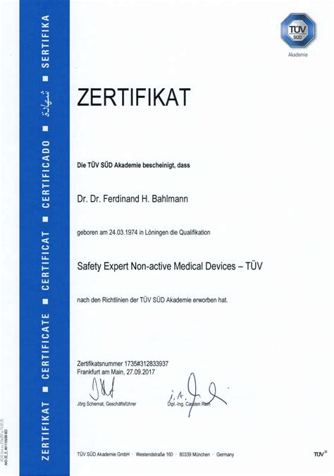 zertifikatsafety expert  active medical devices tuev