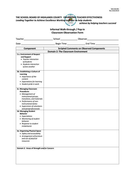 informal walk  pop  classroom observation form