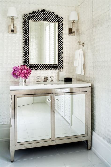Mirrored Bathroom Vanity Cabinets by Metallic Bathroom Vanity With Mirrored Door Fronts