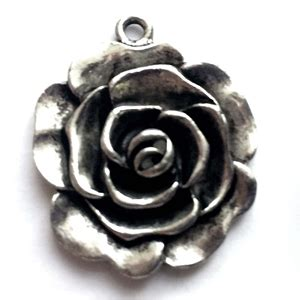 Old Silver Nickel Freeroserose Charms Lead Free Pewter Castings Cast Pewter Jewelry Parts