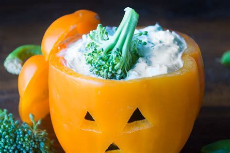 Bell Pepper Jack O Lantern Veggies And Ranch Dip   Healthy