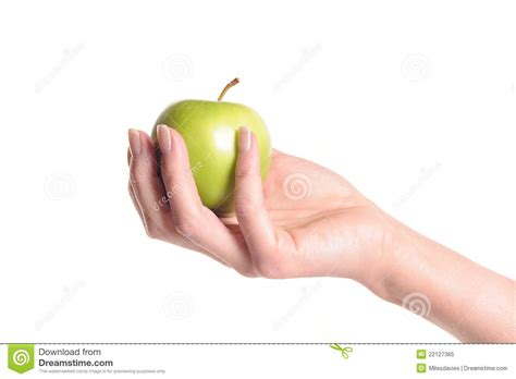 Hand Holding An Apple Stock Image Image Of Health, Green 22127365