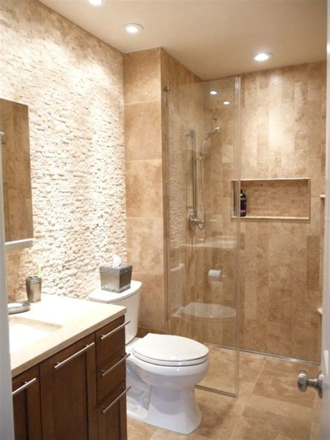tranquil space combines travertine  multiple tile