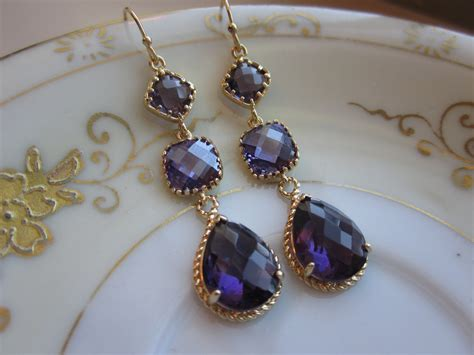Wedding Jewelry Gold : Amethyst Earrings Purple Gold