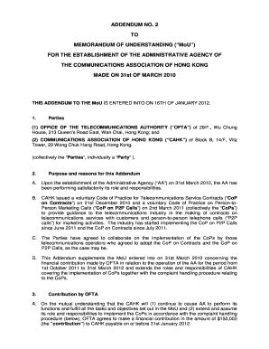 Fillable Online ADDENDUM NO 2 TO MEMORANDUM OF