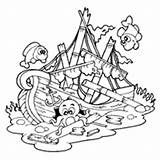 Ship Sunken Coloring Shipwreck Clipart Pirate Pages Drawing Illustration Surfnetkids Royalty Visekart Getdrawings sketch template