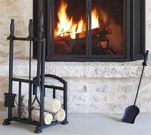 pb classic fireplace log holder tool set pottery barn With kitchen cabinets lowes with wrought iron fireplace candle holder
