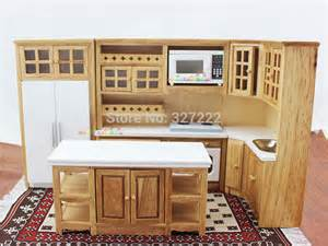 kitchen dollhouse furniture doll house kitchen furniture wooden toys cabinet w oven microwave fridge sink 1 12 scale