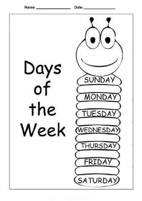 number names worksheets 187 days of the week kindergarten