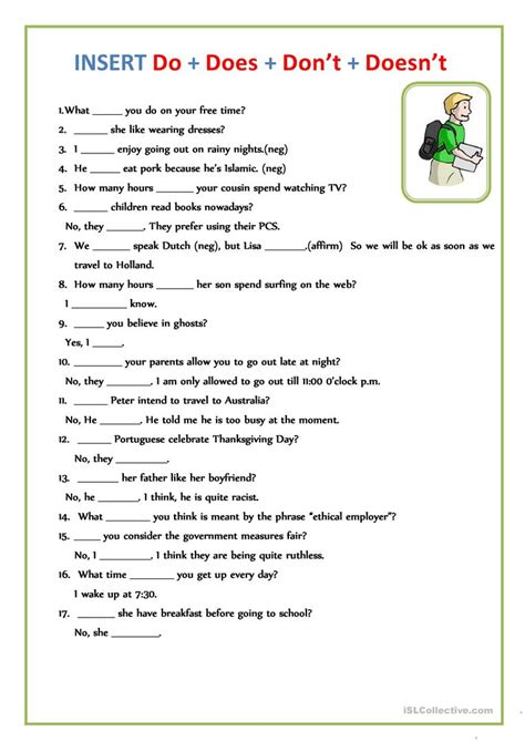 insert do does don t doesn t worksheet free esl