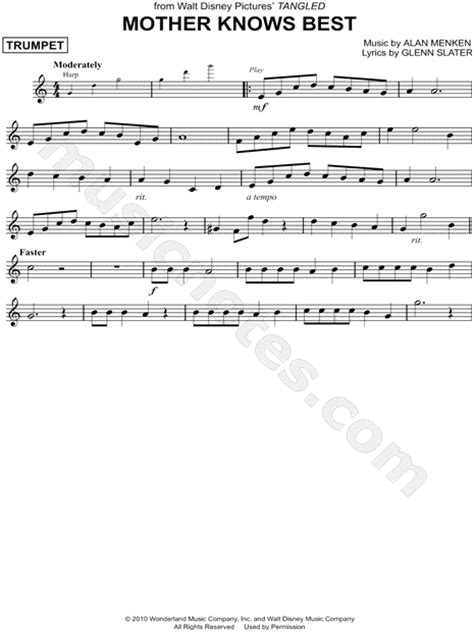 mother knows music trumpet sheet solo piece