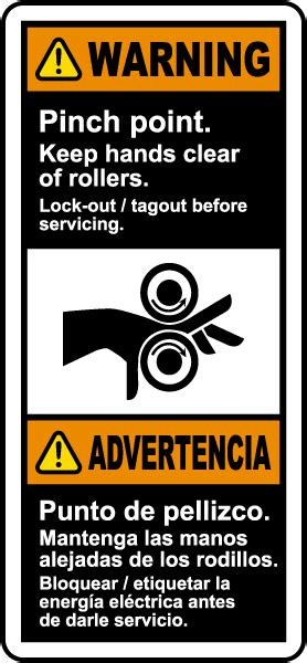 bilingual warning pinch point  hands clear  rollers
