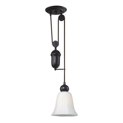 farmhouse bronze pulley adjustable height one light