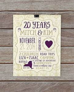 20 year anniversary anniversary present custom gift for With 20 year wedding anniversary gifts for her