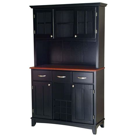 Cherry Buffet And Hutch - home styles three drawer 44 in w black buffet with cherry