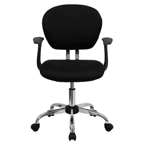 flash furniture mid back black mesh task chair with arms