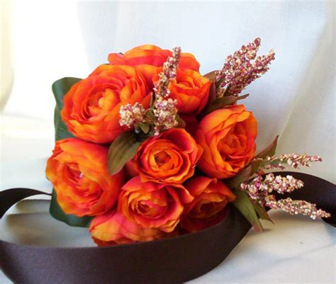 Fall Bouquet Orange Bridal Bouquet Autumn Wedding Flowers Silk