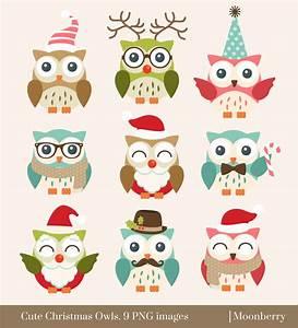 Cute Christmas Owls Clip Art. Owl Clipart. by ...
