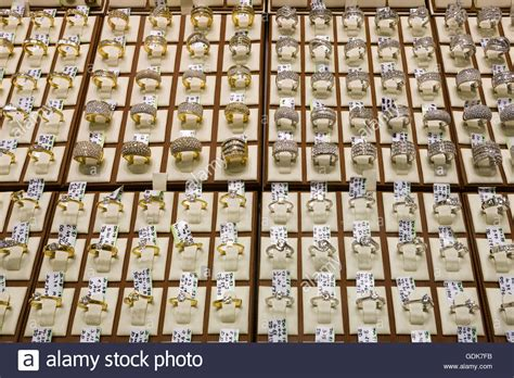 gold and diamond rings for sale in the dubai gold souk at dubai royalty free image