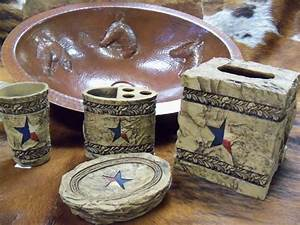 Stone star bath decor for Texas star bathroom decor