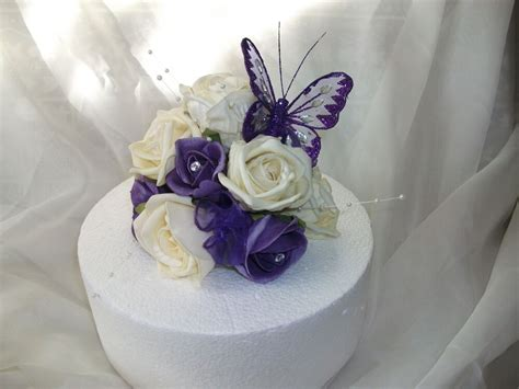 wedding flower cake topper cadburys purple and ivory with