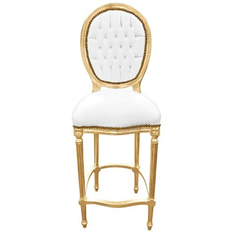chaise de bar cuir chaise de bar style louis xvi simili cuir blanc et bois doré