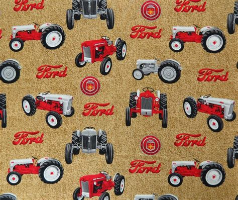 foto de Ford Tractors All Over w/ Tan Background Fabric Ford