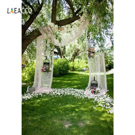 Tree Backdrop For Wedding by Laeacco Green Flower Tree Curtain Cage