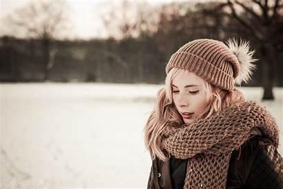 Winter Scarf Hat Blonde Wallpapers Background Desktop