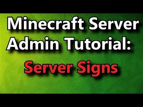 Minecraft Admin Howto Server Signs [free] Youtube