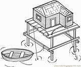 Stilt Coloring Houses Ges sketch template