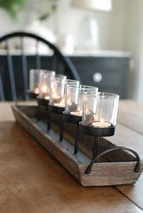 Rustic wood centerpiece votive holder kitchen table or for Kitchen colors with white cabinets with rustic votive candle holders